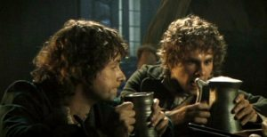 Hobbits enjoying a pint.