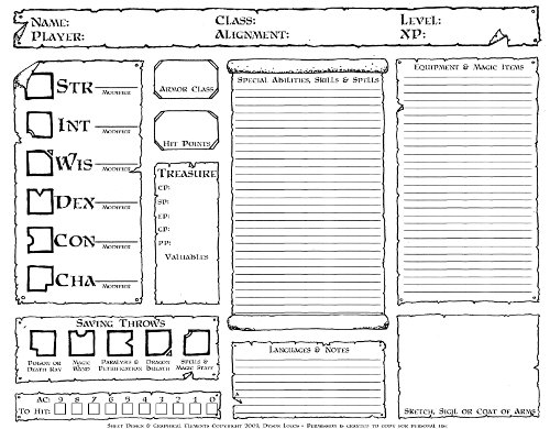 image about 5e Character Sheet Printable called Temperament Sheets Dysons Dodecahedron