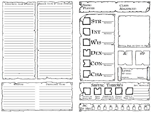 D D 5e Character Sheet Double Sided Printable: Hand-Crafted Dungeons & Dragons Character Folder