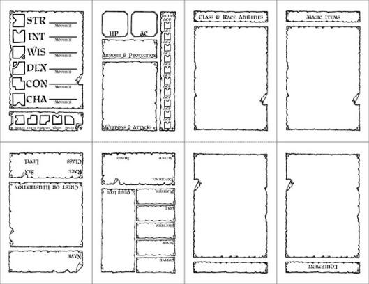 Pocketmod Labyrinth Lord Sheet
