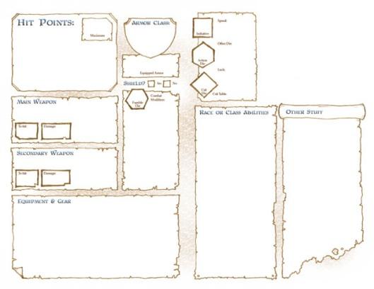 DCC RPG Character Folder - Back