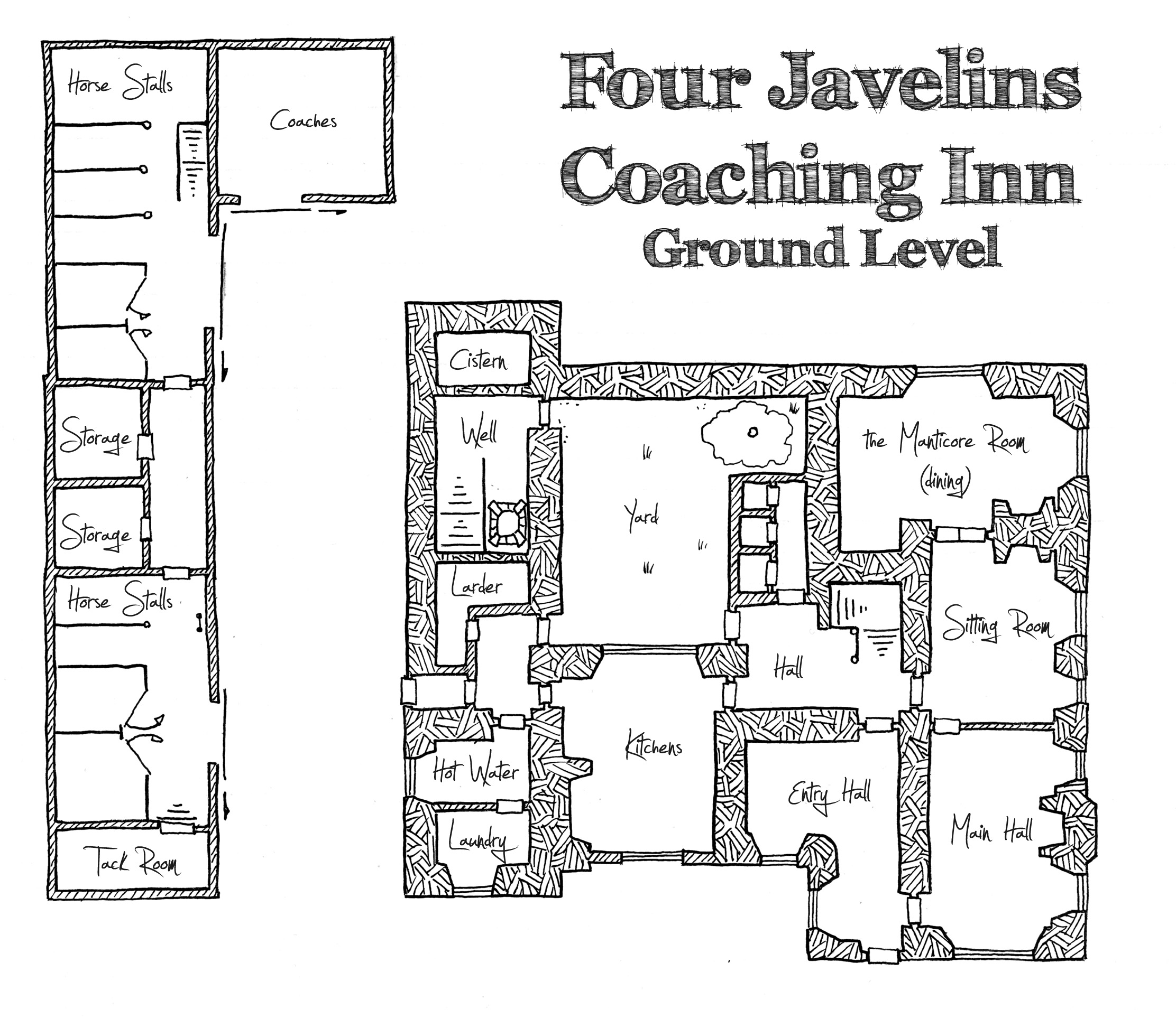 Townhouse Blueprints Friday Map The Four Javelins Coaching Inn Ground Level