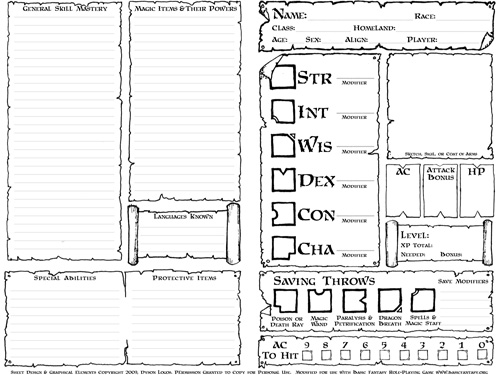 D D 5e Character Sheet Double Sided Printable: Dyson's Dodecahedron