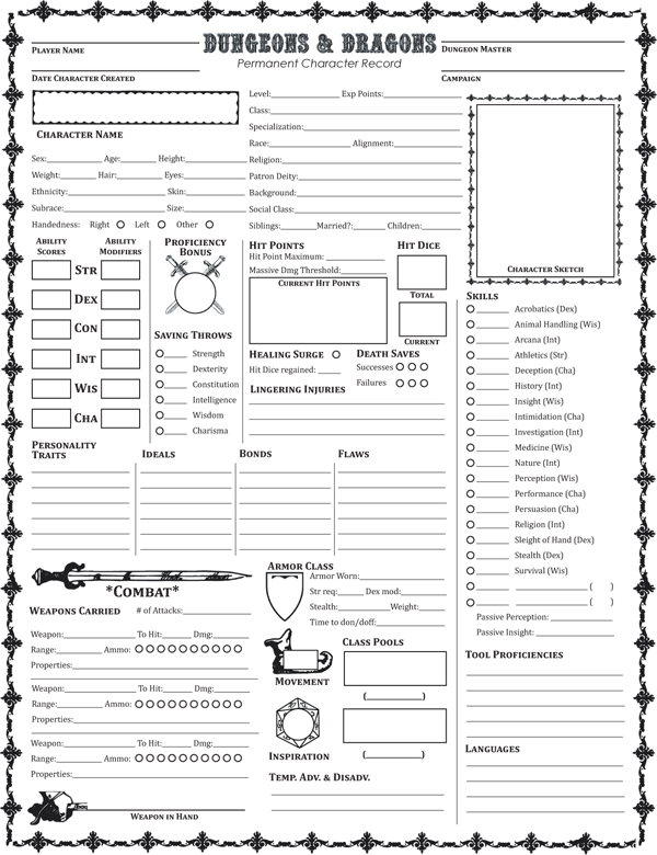 picture relating to Printable 5e Character Sheet titled Individuality Sheets Dysons Dodecahedron