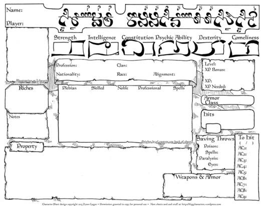 Empire of the Petal Throne Sheet v2 (click for PDF)