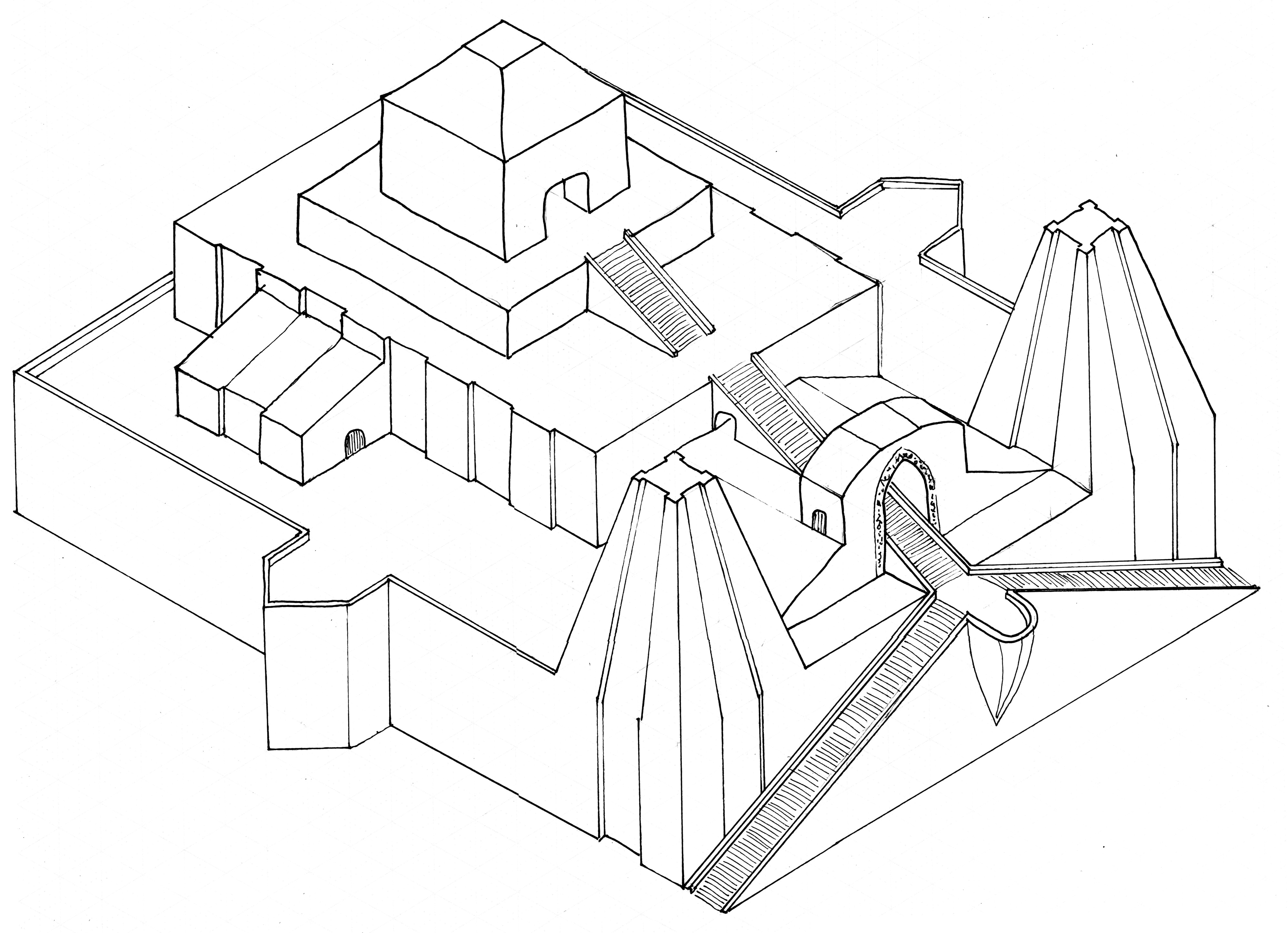 mesopotamia ziggurat drawing sketch coloring page