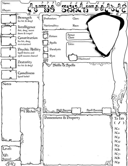 Empire of the Petal Throne Character Sheet (version 3)
