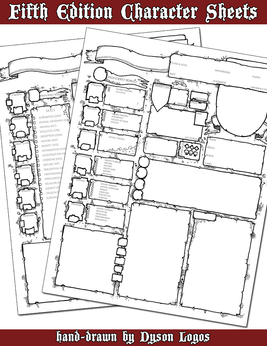 image relating to Printable 5e Character Sheet referred to as 5th Version Persona Sheets Dysons Dodecahedron