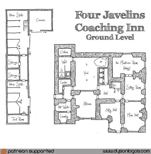 Four Javelins Coaching Inn - Ground Floor - Annotated