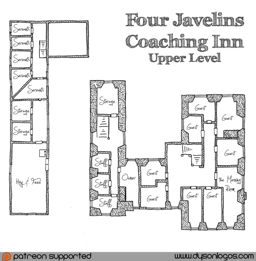 Four Javelins Coaching Inn - Upper Floor - Annotated