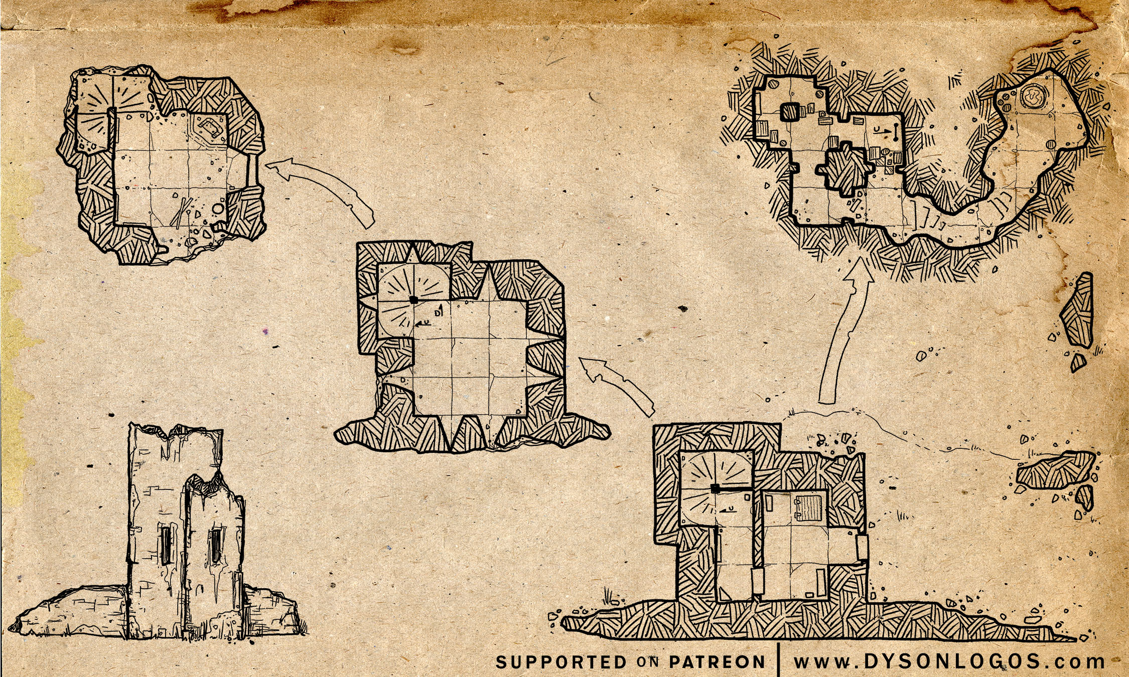 The ruins of Boar Isle Tower (300 dpi - no commercial license)
