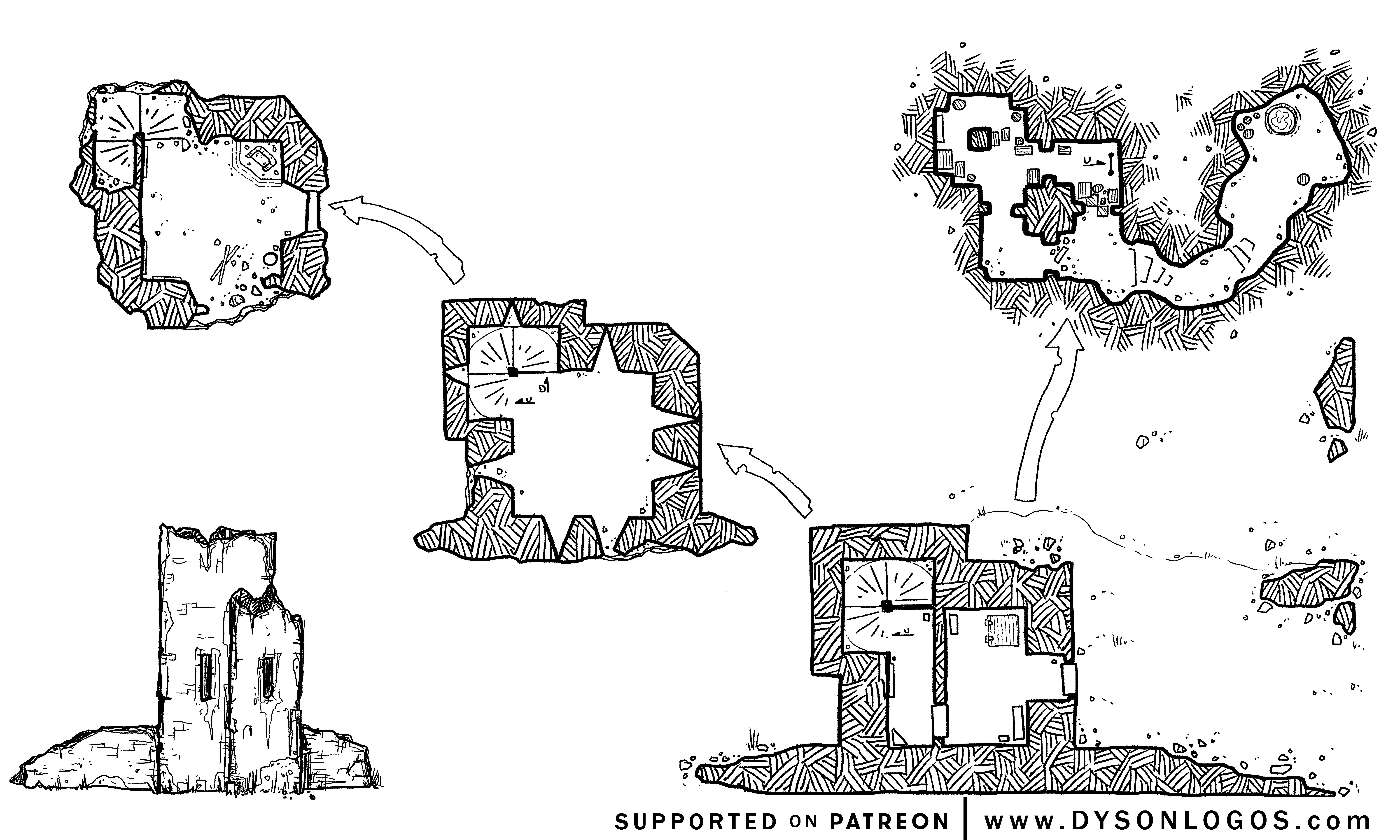 The ruins of Boar Isle Tower (1200 dpi - no grid)