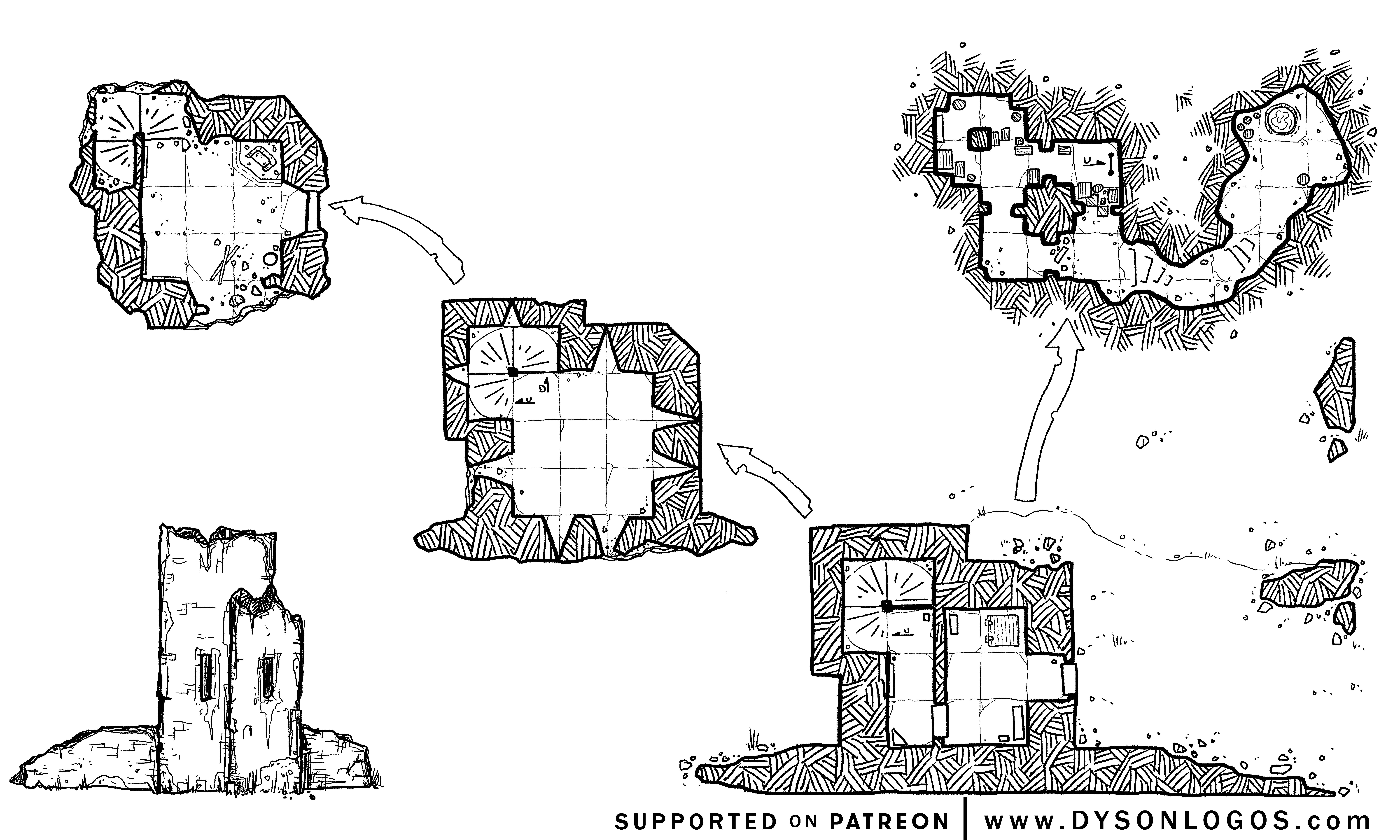 The ruins of Boar Isle Tower (1200 dpi)
